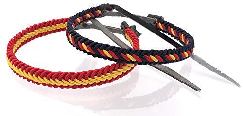 MovilCom® Pack de 2 Pulseras Pulsera de Cuero e Hilo Trenzada Colores Bandera ESPAÑA 2 Unidades 2 Colores
