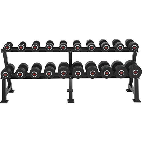 GORILLA SPORTS® Kurzhantel Profi Gummi Set 325 kg mit Ständer – 20 Kompakthanteln 2,5-35 kg inkl. Ablage Schwarz
