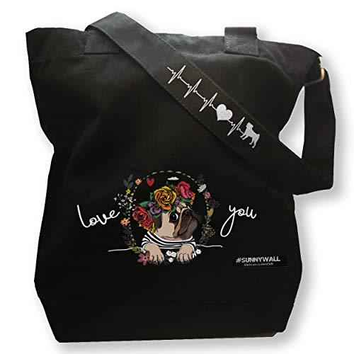 Mops Pug Love You - stabile Freizeittasche Strandtasche Handtasche Canvas mit Innentasche Black