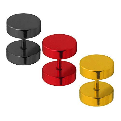 Tumundo Fakeplugs Fake Plug Tunnel Ear Piercing Ear Studs | Juego de 3 piezas | Joyería piercing de oro rojo negro, talla:8