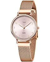 Dohe Ladies Stainless Steel Waterproof Watches Women's Casual Thin Wrist Watches Mesh Watch Band Quartz Watches for Ladies 36MM/1.41