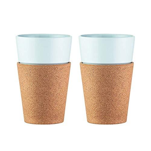 Bodum Bistro Tassen-Set 2 Stück, Porzellan, Kork/weiß, 8.7 cm, 2-Einheiten