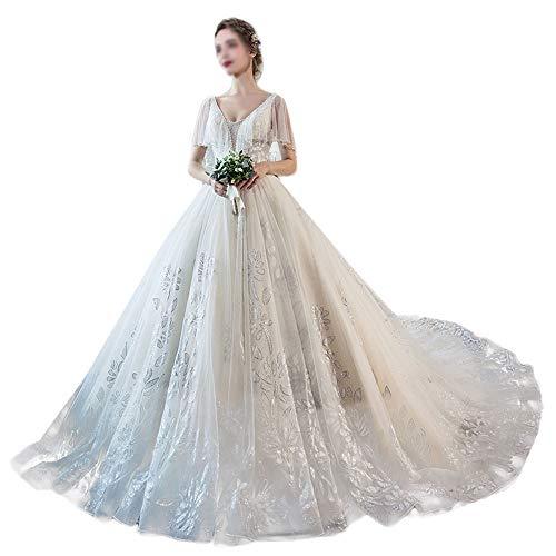 ZDAMN Abito da Sposa Long Tail Principessa Fantasy V-Collo di Coda One-Spalla più Il Vestito da Sposa Sposa Abiti da Sposa Abito da Sposa (Colore : Photo Color, Size : XXL)
