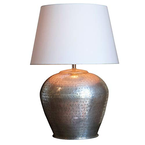 Loberon Tischlampe Penelope, Baumwolle, Messing, H/Ø 50/30 cm, antiksilber/creme, E27, max. 60 Watt, A++ bis E