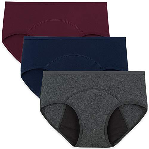 INNERSY Damen Period Panties Baumwolle Menstruation Slip Wochenbett Unterwäsche Mehrpack 3 (L-EU 42, Marine/Grau/Weinrot-dunkler Schritt)