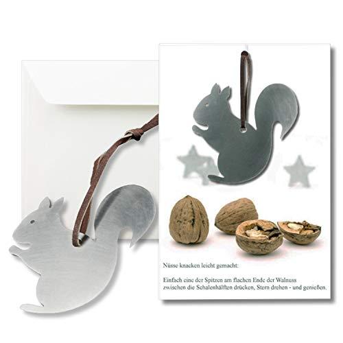 Notenkraker DIN B6 met echte roestvrij stalen notenkraker op de lederen band en envelop DIN B6 1 Stück eekhoorn
