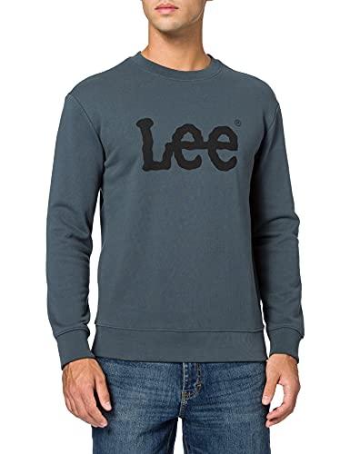 Lee Basic Crew Logo Sudadera, Gris Oscuro, S para Hombre