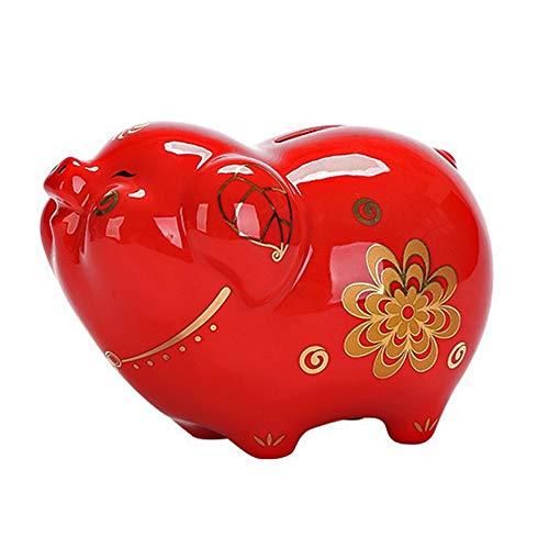 ZAKRLYB Adornos de cerámica de cerámica de la Hucha Persal de Piggy Bank Adult Piggy Bank Compacto Ahorre dinero con monedas y billetes de banco Adecuado para dormitorio, estudio y decoración de la ha