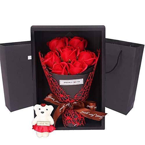 Seifenblume in Geschenkbox, Geschenke für sie, Rosen-Duftseifen Soap Flower für Valentinstag, Muttertag, Frauentag, Hochzeit, Geburtstag, Rose Soap Blumen in Geschenk-Box, Faszinierende Duft von Rosen