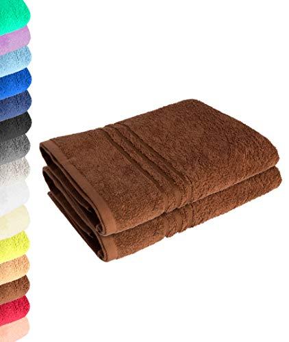 Lavea Juego de 2 toallas de ducha (70 x 140 cm), color marrón