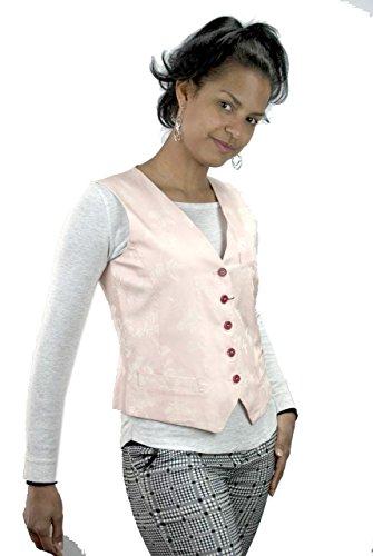 Dames Gilet maat 42 S - Roze Brokaat Bloemen Ivoor - Katoen
