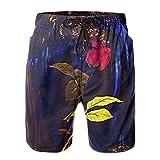 Men & Boys Fit Swim Trunks for Beach Athletic Hiking Quick Dry Drawstring Essentials Half Pants with Pockets Lining, Beachwear Beauty The Beast Rose Fashion Swim Trunks