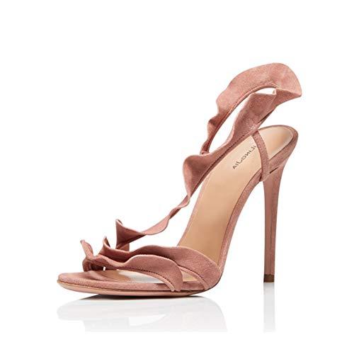 Frauen Peep-Toe Sandalen Stiletto Schuhe, MWOOOK-977 Sexy Party Freizeit Hochzeit Abend Sommer Schuhe,Nude,42