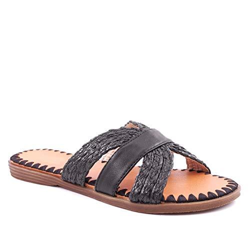 Angkorly - Damen Schuhe Schuh-Mule Sandalen - Böhmen - Hippie - Hipster - Step - Seil - Sticken - gekreuzte Riemen Blockabsatz 1.5 cm - Schwarz L20-3 T 40