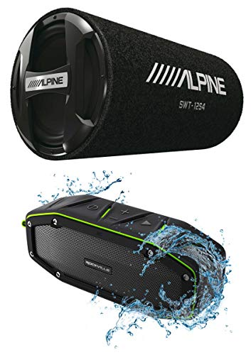 """ALPINE SWT-12S4 1000w 12"""" Subwoofer in Bass Tube 4-Ohm Sub+Bluetooth"""