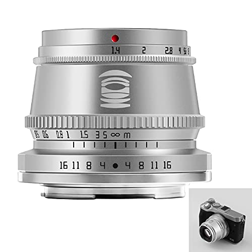 Obiettivo TTArtisan 35mm F1.4 Obiettivo fotocamera APS-C MF compatibile con fotocamere EOS M-Mount M1 M2 M3 M5 M6 M61 M10 M100 M50.(d argento)