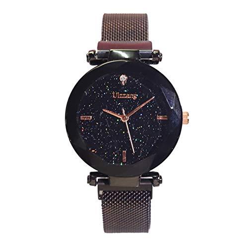 Teekit Mujeres Starry Sky Reloj de albañilería imán Correa Hebilla cinturón de aleación Reloj de Regalo de cumpleaños
