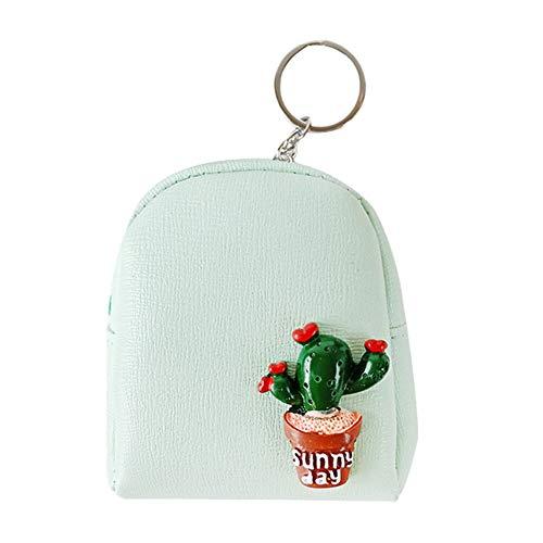 Qinlee Mini Münzbörsen und Schlüsselring Kaktus Topfpflanze Geldbörse Kinder Coin Purse Klein Kosmetiktasche Mädchen Münztüte (Grün)