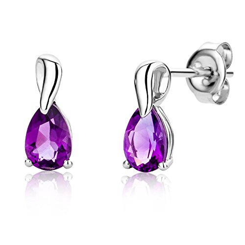 Miore purple amethyst earrings for women in 9 kt 375 white gold