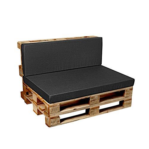 Garden factory Coussins pour Canape Euro Palette, Assise, Dossier, Set, extérieur intérieur Set (Assise 120x60+Dossier 120x60) Anthracite