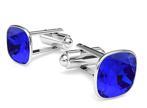 Crystals & Stones SQUARE - FARBEN VARIANTEN - Silber 925 Rhodiniert Elegante Manschettenknöpfe Silber 925 Herren Sterling Swarovski Elements Manschettennadeln Geshenk (Majestic Blue)