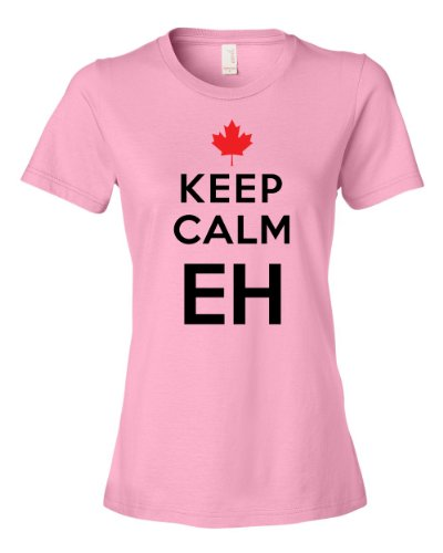 Keep Calm Eh Canada Maple Leaf Mounties Uniform Tee Shirt For Our Friends Up North, Carry on Womens M pink N