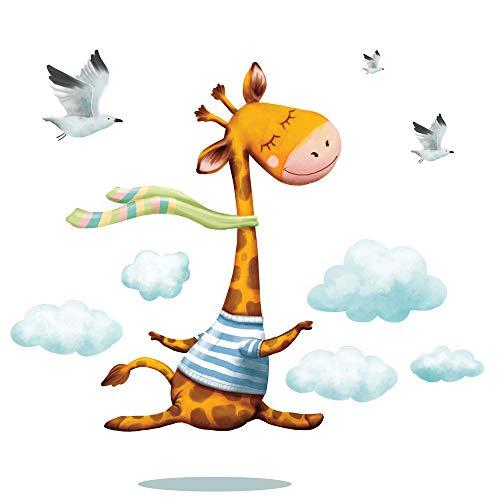 Wandtattoo Kinderzimmer bunt Giraffe Ballerina Wolken Vögel Wandaufkleber / 35 cm hoch x 82 cm breit