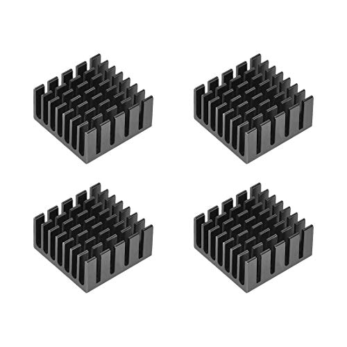 sourcing map 10x20x20mm Black Aluminum Heatsink Thermal Adhesive Pad Cooler for Cooling 3D Printers 4Pcs
