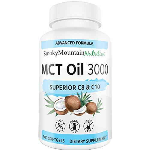 MCT Oil Capsules 3000mg - 300 Coconut MCT Oil Supplement Softgels - Perfect Keto Softgels - C10 (Capric Acid) and C8 (Caprylic Acid) Coconut Oil to Lose Weight - MCT Oil, Brain Octane Oil*