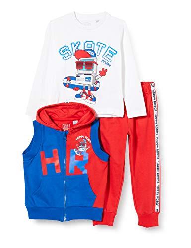 Chicco Tuta 3 Pezzi Bimbo: Gilet con Cappuccio + t-Shirt Manica Lunga + Pantaloni Lunghi, Rosso (Rosso Blu 071), (Taglia Produttore:104) Bambino