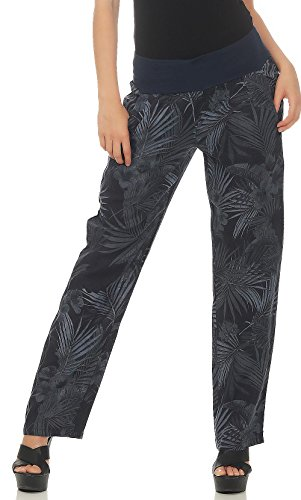 Malito Damen Hose aus Leinen | Stoffhose mit Jungle Print | Freizeithose für den Strand | Chino - Jogginghose 7790 (dunkelblau, S)