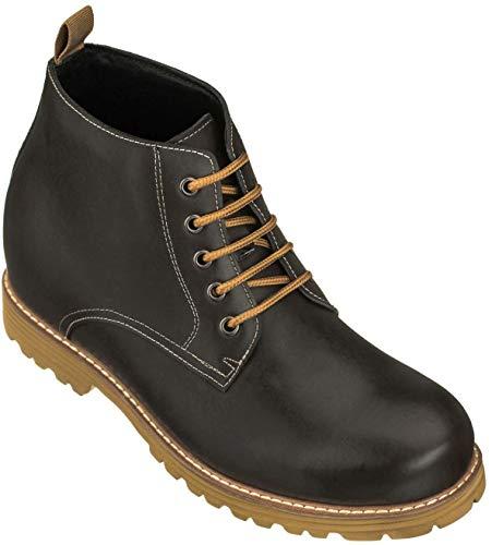 CALTO Men's Invisible Height Increasing Elevator Shoes - Black Premium...