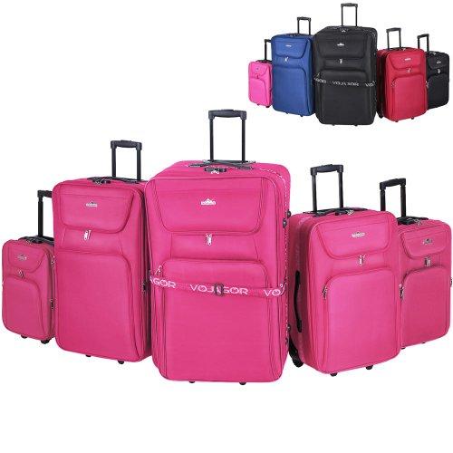 Kofferset 5 TLG. - in 3 Größen XXL/XL/L/M/S, Blau oder Pink, Stoff, 2 Rollen, Erweiterbar, Leicht - Trolley, Handgepäck, Reisekoffer,...