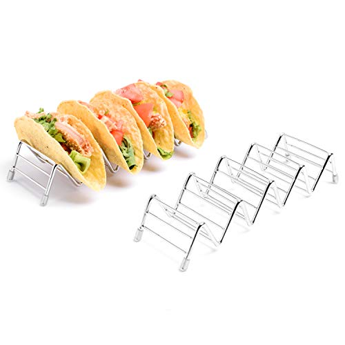 2 Pack Premium Taco Holder Stands,Stainless Steel Taco Holds Up To 4 or 5 Tacos Each as Rack,Oven Safe for Baking,Dishwasher and Grill Safe,Racks Hold Soft & Hard Shell Tacos,Easy To Fill Taco Rack