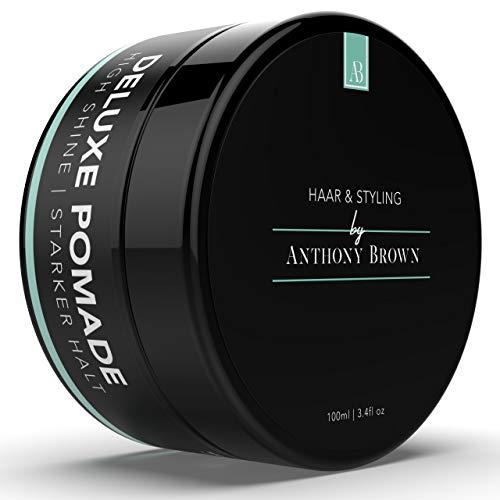NEU: Anthony Brown® Deluxe Pomade - Bestes Haarwachs starker Halt & edler Glanz - Haarwax für alle Haartypen - Parabenfrei & wasserbasiertes Haar Wax