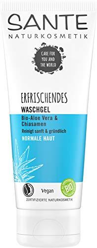 SANTE Naturkosmetik 40160 Erfrischendes Waschgel Bio-Aloe Vera & Chiasamen, Reinigt natürlich gründlich, Kein Austrocknen, Spendet Feuchtigkeit, Jede Haut, Vegan, 100ml