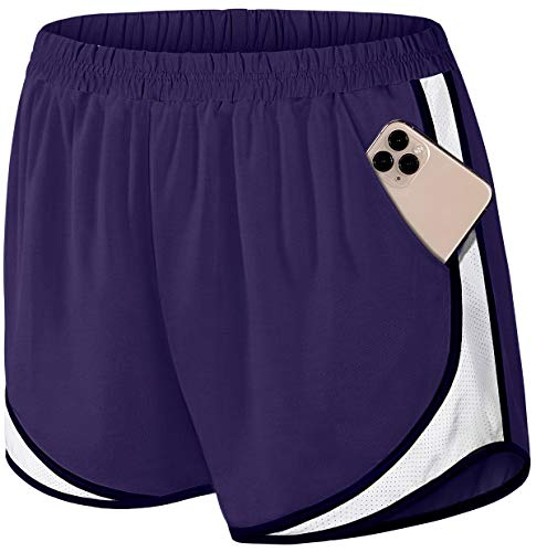 Fulbelle Yoga Shorts with Pockets for Women, Teen Girls Athletic Running Workout Exercise Sport Stretch Comfy Compression Shorts with Legging Contrast Color Clothes Purple X-Large