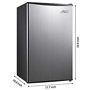 Arctic King 3.3 Cu Ft Single Door Mini Fridge (Stainless Steel Look, 17.70 x 18.60 x 33.90 Inches)