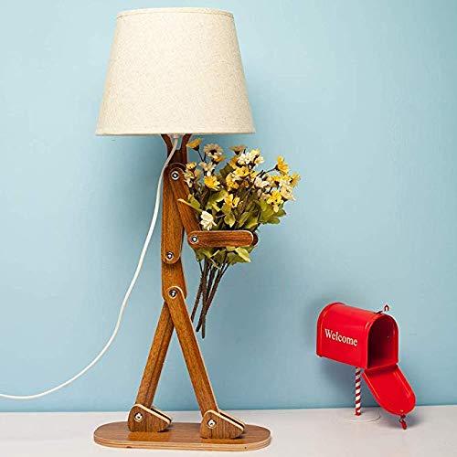 Wttfc Einzigartige Mann Holz-Schreibtisch-Lampe Mit Lampenschirm Retro DIY Flexible Swing Arm Beistelltisch Licht Für Kinder Jungen Schlafzimmer Wohnzimmer,B