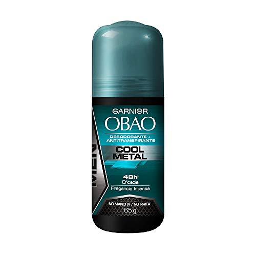 (Pack of 4) Garnier OBAO for Men, 48 Hour Roll on Deodorant & Antiperspirant, Cool Metal Scent, 65 g each by Garnier OBOA