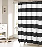 FAMILYDECOR Black and White Shower Curtain Nautical Striped Design Fabric Curtains Bathroom Accessories 72x72