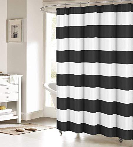Duschvorhang aus Stoff, gestreift, Schwarz & Weiß