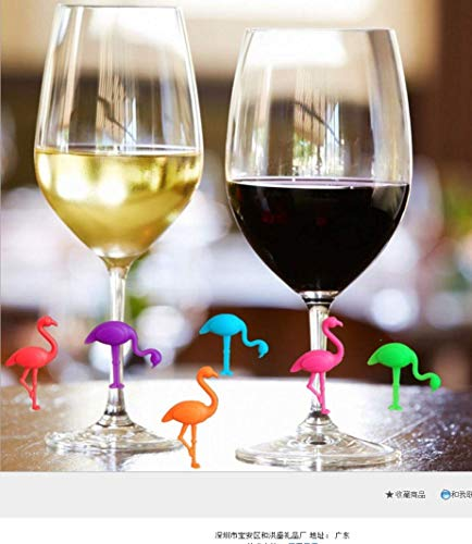 JHY Wine Glass Markers Set of 6 Silicone Drink Glass Charms &Wine Charm Tags with Suction Cup
