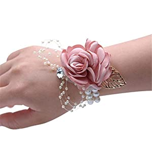 Flonding Girl Bridesmaid Wrist Corsage Bridal Silk Wrist Flower with Faux Pearl Bead Stretch Bracelet Wristband Gold Leaf for Wedding Prom Hand Flowers Decor (Champagne Pink, Pack of 4)
