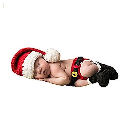 HAPPY ELEMENTS Newborn Baby Christmas Santa lavorato a maglia Crochet Foto Prop Fotografia Amabili Cappelli Costume Outfits
