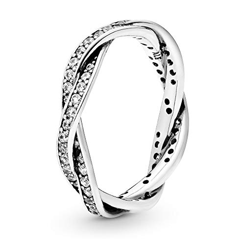 PANDORA Twist of Fate Braided Pave Silver Size 7 Ring 190892CZ-54