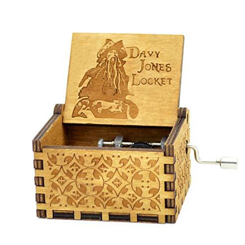 Caribe Davy Jones caja de música manivela antigua caja de madera de madera y pulpo collar para la colección de decoración del hogar