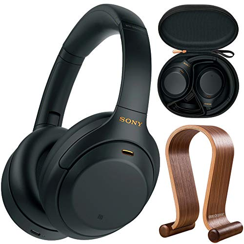 Sony WH1000XM4/B Premium Noise Cancelling Wireless Over-The-Ear Headphones Bundle with Deco Gear Wood Headphone Display Stand and Protective Travel Carry Case