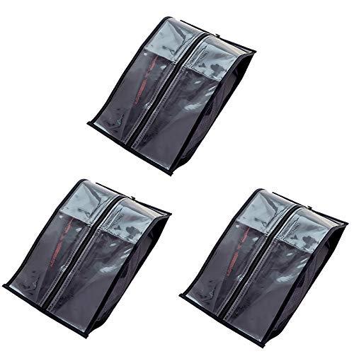HUI JIN Bolsas de almacenamiento portátiles para zapatos de viaje, sencillas y impermeables, con ventana transparente, color negro, 3 unidades