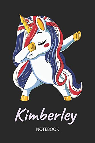 Kimberley - Notebook: Blank Lined Personalized & Customized Name Great Britain Union Jack Flag Hair Dabbing Unicorn Notebook / Journal for Girls & ... Birthday, Christmas & Name Day Gift for Her.